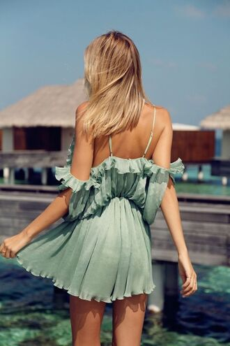 dress summer dress summer outfits frilly ruffle mint mint dress mini dress straps blonde hair holiday dress holiday outfit romantic