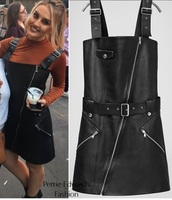 dress,black,black dress,leather,short black dress,perrie edwards