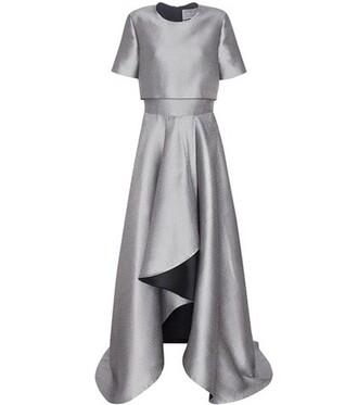 gown draped silk grey dress