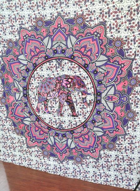 Mandala Wall Decor home accessory: elephant, pink, mandala, hippie, hippie, queen