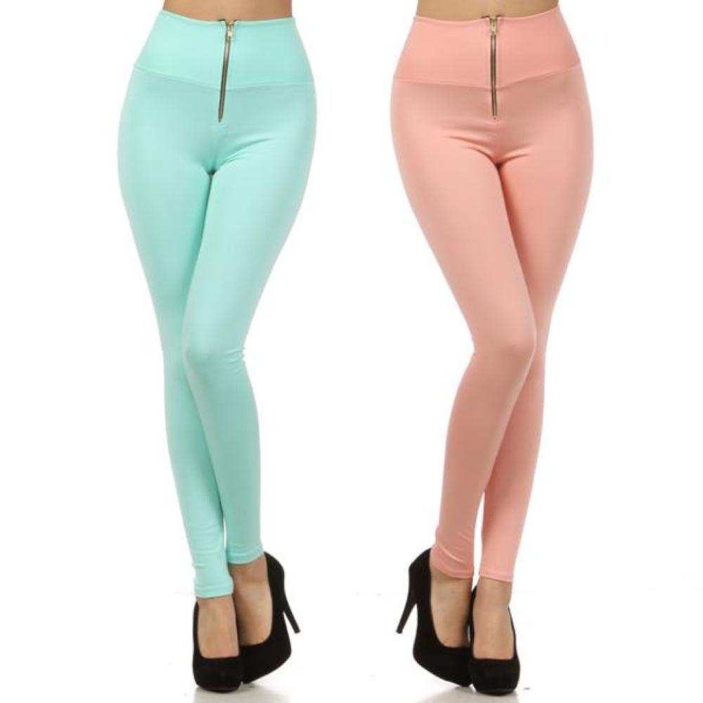 s M L High Waist Solid Mint Peach Zipper Skinny Pants Stretch ...