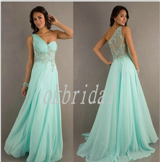 mint one shoulder sheer back wish.com long prom dress beading party dresses