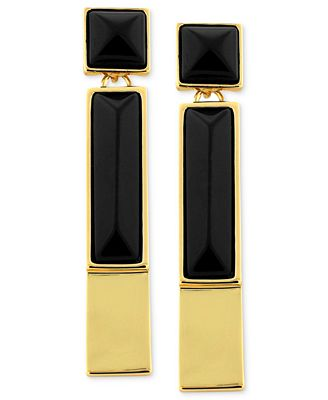 Vince Camuto Earrings, Gold-Tone Black Onyx Rectangle Linear Drop Earrings - Fashion Jewelry - Jewelry & Watches - Macy's