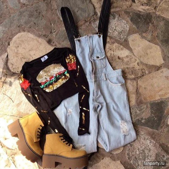 overalls jumpsuit top crop tops boots shoes