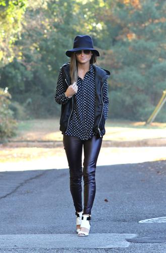 to be bright blogger jacket hat sunglasses polka dots shirt leather pants heels