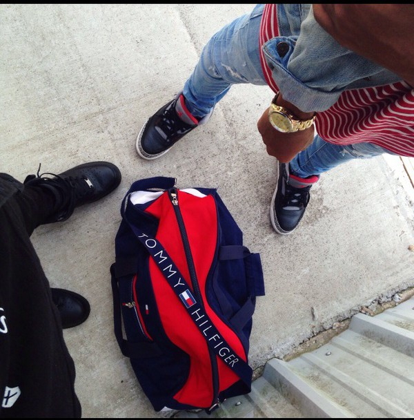 Bag Duffle Red Blue White Tommy Hilfiger Mens Holdall Navy Travel