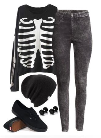 sweater black t-shirt black high waisted pants skeleton skeleton sweater