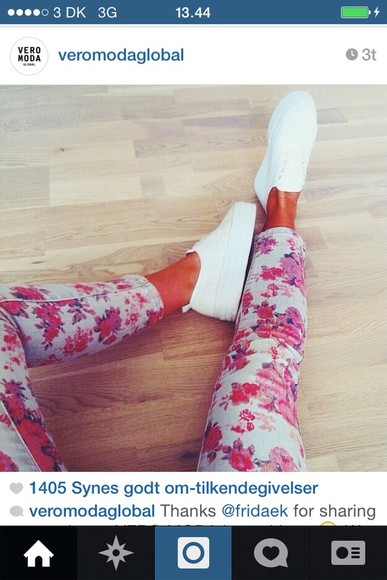 pink style shoes jeans flowers print