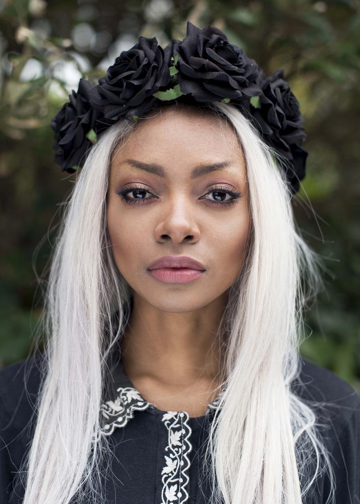 Beauxoxo Black Rose Flower Hair Crown Headband