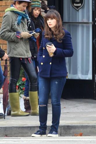 zooey deschanel new girl fall outfits pea coat jacket