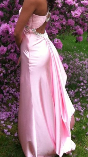 dress pink silk prom long sparkle