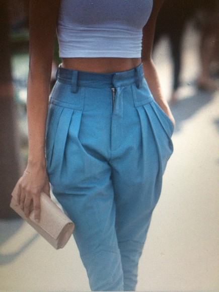 pockets pants blue high waisted jeans jeans pleats