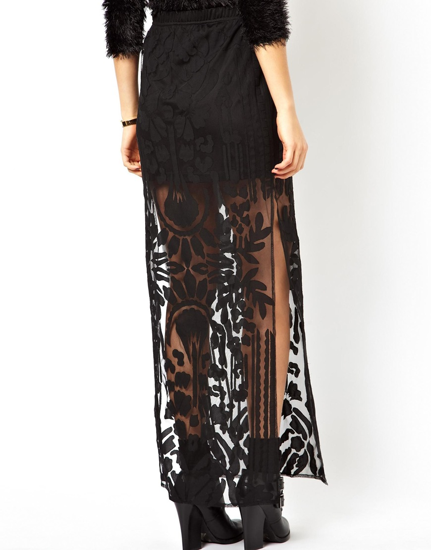 ASOS Premium Column Maxi Skirt In Burnout With Splits at asos.com