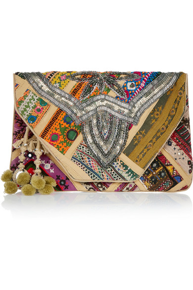 Jango embroidered cotton clutch