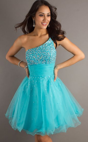 Turquoise Sequined One Shoulder Dave & Johnny 6917 Prom Dress [Dave & Johnny 6917 Blue] - $158.00 : Prom Dresses 2014 Sale, 70% off Dresses for Prom