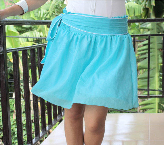 Ready to ship Blue Mini Skirt Summer Fashion Party by LoNaDesign