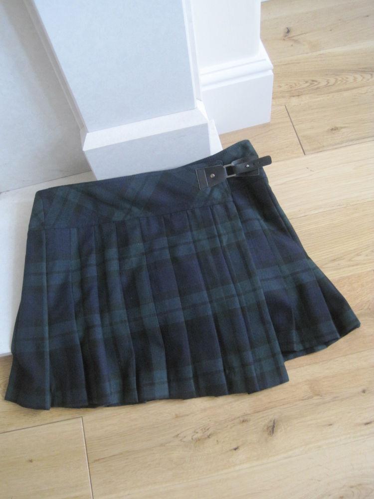 Blue/ green pleated tartan skirt size 12