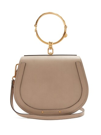 cross bag leather light grey