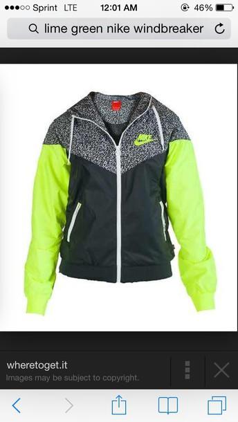 jacket nike jacket windbreaker green jacket nike lime grey black cute windrunner