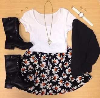skirt black flowers hipster hat bag boots boho top