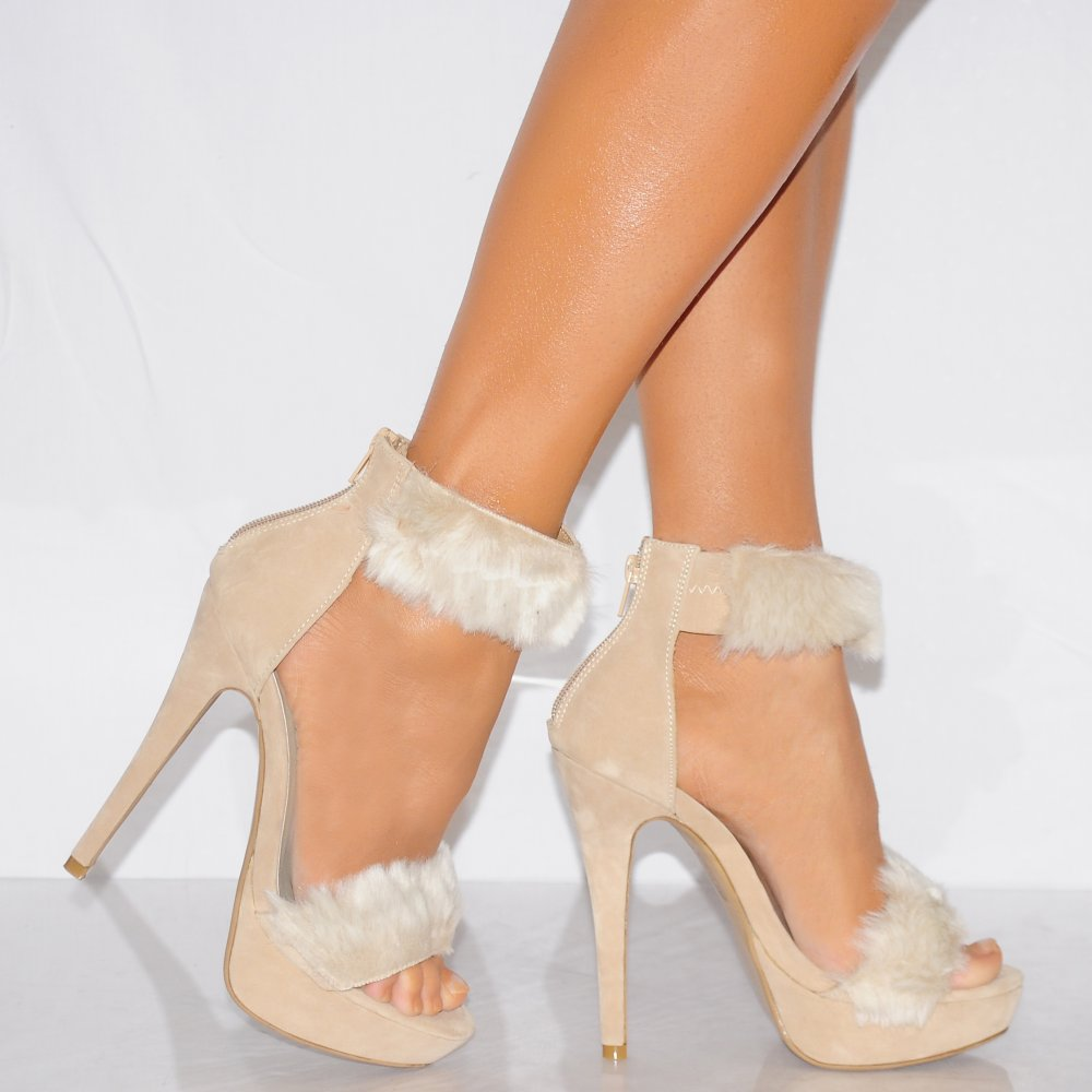 Koi Couture Nude Fur Trim Strappy Sandals High Heels Shoes