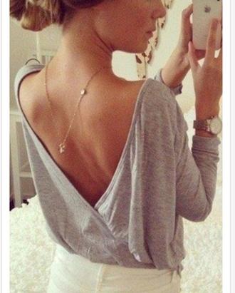 grey oversized loose shirt oversized shirt v-back