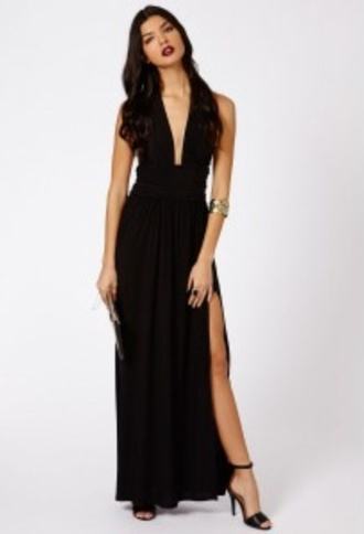 dress formal black dress maxi dress low neckline earning gown black dress pleats pleated dress flowey classy dress sexy dress classy sexy dress fabulous floor length black dress plunge neckline plunge v neck slit high slit dresses evening dress flowey dress fashion floor length dress black long and split