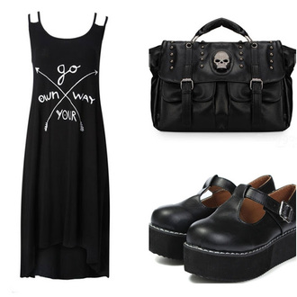 dress sammydress go your own way black black dress spaghetti strap dark goth goth hipster all black everything skull bag shoes pastel goth blouse