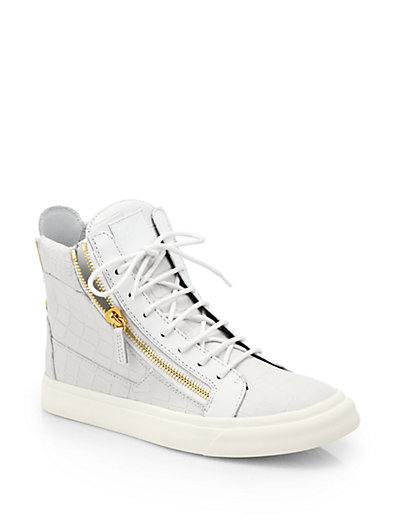 Giuseppe Zanotti - Printed Croc High-Top Sneakers - Saks.com