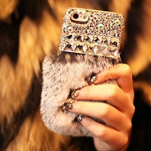 Amazon.com: luxury bling crystal rabbit fur rhinestone case cover for apple iphone 6 iphone 6 plus: cell phones & accessories