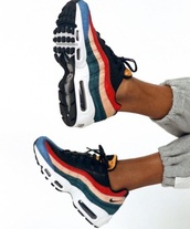 shoes,colorful nike,nike,colorful sneakers,colorful nikes,nike shoes,red,blue,air max 95,air max