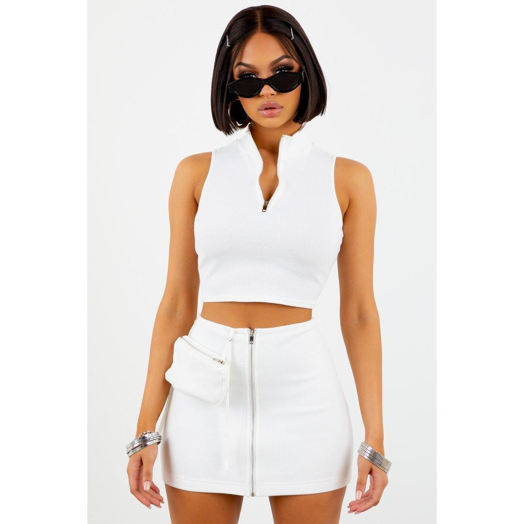 Sorella White Ribbed Zip Up Mini Skirt
