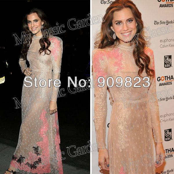 Aliexpress.com : buy jessica allison williams round o neck long sleeves lace pink and black see through formal sexy celebrity dresses gowns fashion from reliable new evening gown suppliers on my classic garden