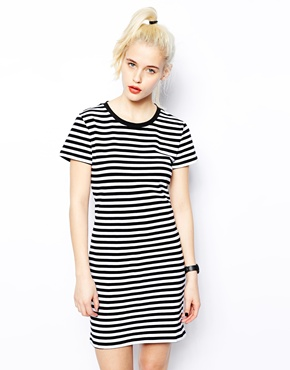 Monki | Monki T-Shirt Dress In Stripe at ASOS