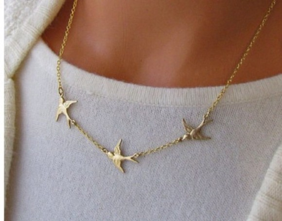 jewels gold golden necklace gold chain chain birds bird freedom simple neck necklaces