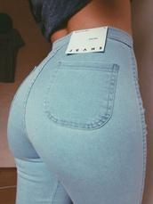 jeans,blue jeans,denim,denim pants,high waisted,high waisted jeans,pants,tights,fashion,sexy,light blue jeans,booty