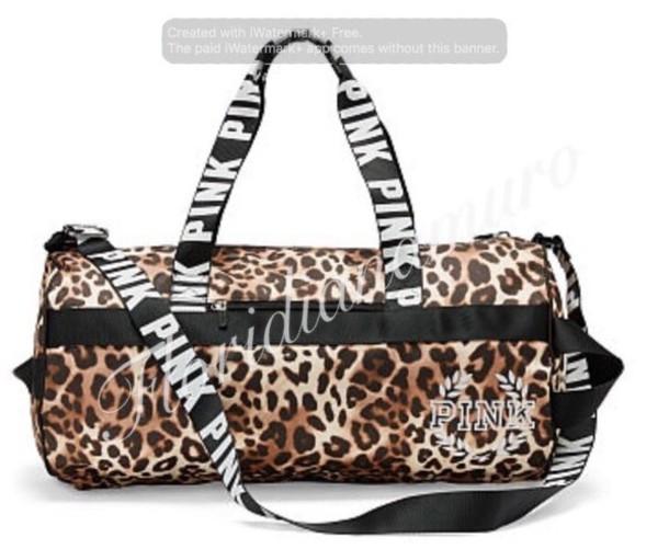 cf912c34d03 bag pink victoria s secret gym bag duffle bag leopard print pink by victorias  secret