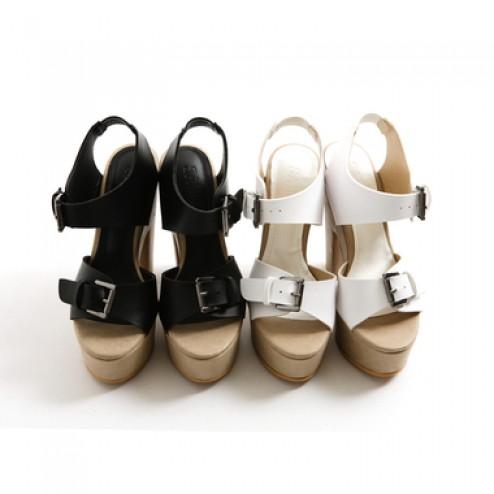 Buckle chunky heels