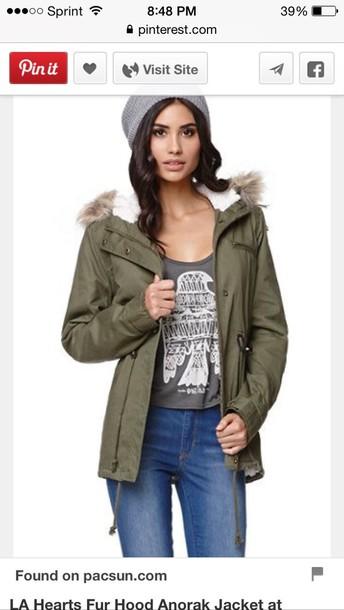 coat pacsun army green jacket fur coat