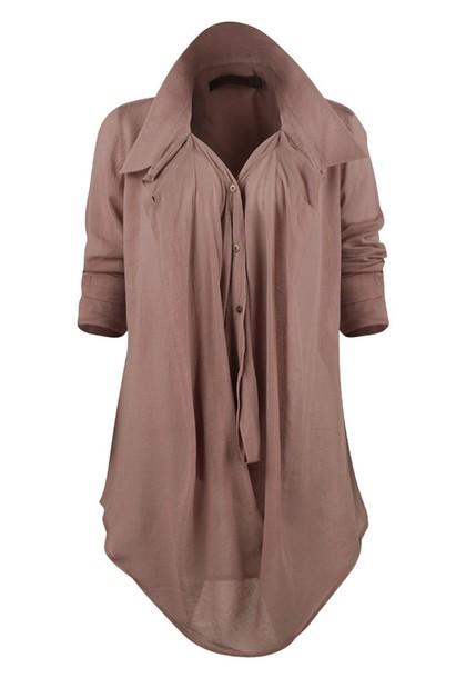 blouse taupe clothes button down beige beigeblouse long cute classy preppy comfy buttonblouse sheer flowy beige blouse shirt