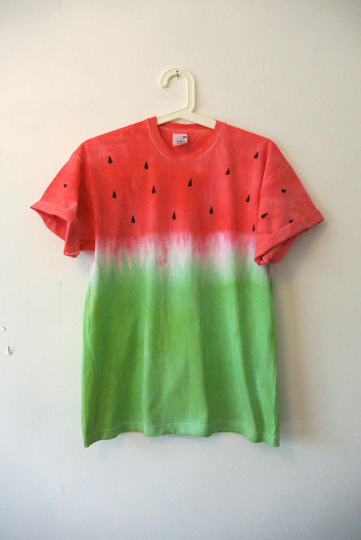 Sandía frutas Tie Dye / tinte T camisa de inmersión. Fruit of the Loom, 100% algodón. De tamaño medio. Mujeres u hombres