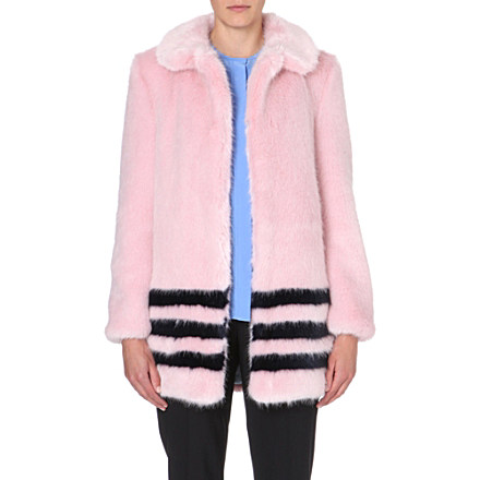 SHRIMPS - Dulcie striped faux-fur coat | Selfridges.com