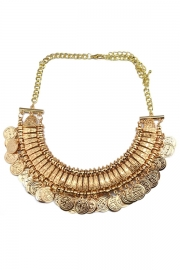 Antique copper coin bib necklace