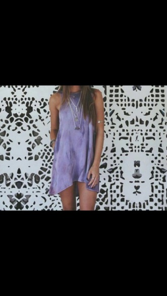 dress top purple dress tie dye dress