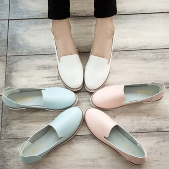 shoes kawaii loafers pastel baby pink mint pastel shoes