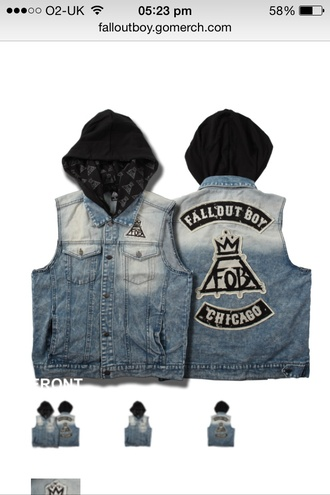 jacket fall out boy band merch patrick stump bands denim jacket hood