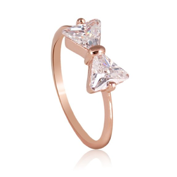18K Rose Gold Plated BOW Ring With Triangle Cubic Zircon R422 Size 7 | eBay