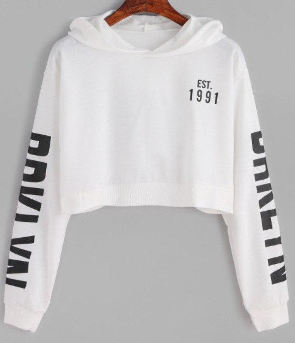 4aa9ac7e2a1 White Letter Print Crop Hooded Sweatshirt -SheIn(Sheinside)