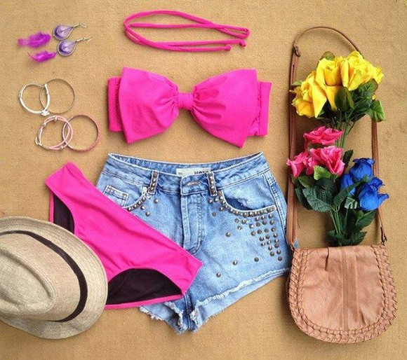 swimwear bikini pink pink bikini white swimwear bow highwaisted shorts high waist top bikinis swim vintage