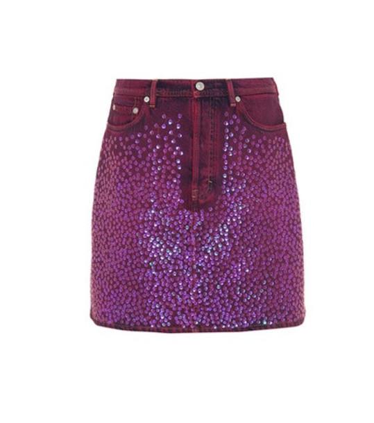 Acne Studios Sharmayne sequinned denim skirt in purple